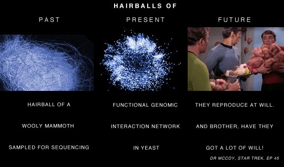 Network hairballs in the past, present and future.  [ Hive Plots - Rational Network Visualization - A Simple, Informative and Pretty Linear Layout for Network Analytics - Martin Krzywinski ]